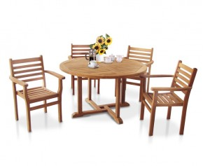 Canfield 1.3m Teak Patio Set with 4 Yale Stacking Chairs - Round Table