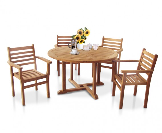 Canfield 1.3m Teak Patio Set with 4 Yale Stacking Chairs