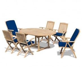 Deluxe Brompton Teak Dining Table and Bali Folding & Reclining Chairs Set - Dining Sets