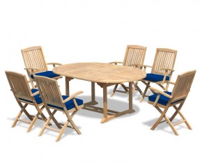 Brompton Teak Oval Extendable Table and 6 Folding Chairs  - Extending Table