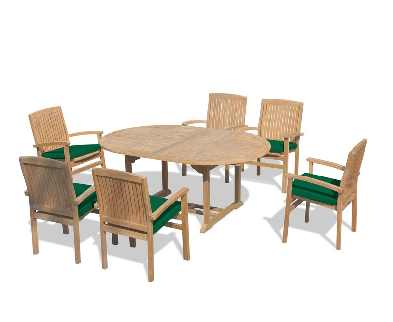 brompton bali teak extendable dining table set with 6