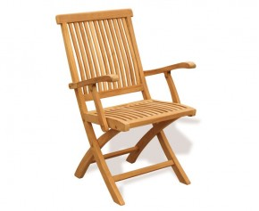 Brompton Teak Folding Armchair - Garden Chairs
