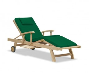 Luxury Teak Reclining Lounger with Arms & Cushion - Teak Sun Loungers