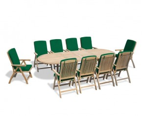 Bali 10 Seater Teak Extending Dining Table and Reclining Chairs Set - Extra Large Dining Sets