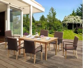 St Tropez Teak Garden Table and Rattan Stacking Chairs Set - Teak Garden Furniture Sale