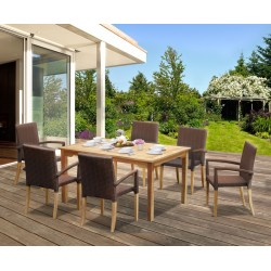 St Tropez Teak Garden Table and Rattan Stacking Chairs Set