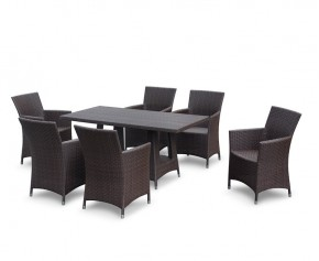 Riviera Poly Rattan 6 Seater Dining Set - Teak Garden Furniture Sale