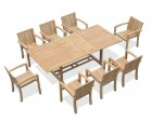 Dorchester Teak Extendable Dining Set with 8 Monaco Stacking Chairs