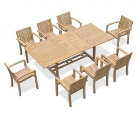 Dorchester Teak Extendable Dining Set with 8 Monaco Stacking Chairs - Large Dining Sets