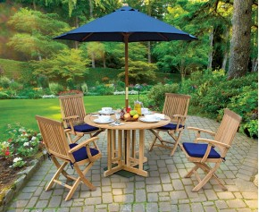 Berrington Garden Gateleg Table and Arm Chairs Set - Patio Outdoor Teak Dining Set - Octagonal Table