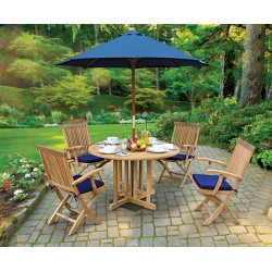 Berrington Garden Gateleg Table and Arm Chairs Set - Patio Outdoor Teak Dining Set