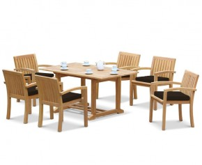 Hilgrove 6 Seater Garden Table and Monaco Stacking Chairs Set - Rectangular Table