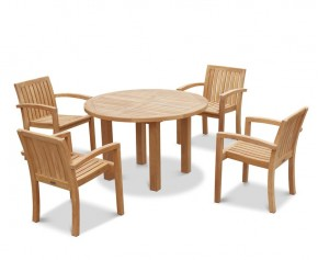 Titan round table with 4 Monaco stacking chair
