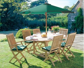 Brompton 6 Seater Extending Garden Table and Folding Chairs - Medium Dining Sets