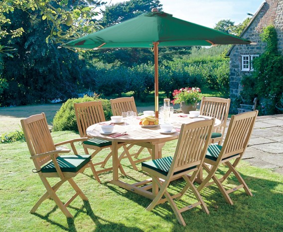 Brompton 6 Seater Extending Garden Table and Folding Chairs
