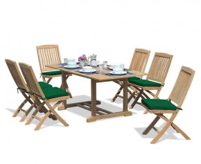 Hilgrove Teak 1.8m Rectangular Garden Table and 6 Folding Chairs Set - Rectangular Table