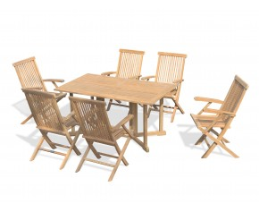 Shelley Teak Garden Gateleg Table and 6 Armchairs - Set 3 - 6 Seater Dining Table and Chairs