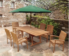 Hilgrove 6 Seater Garden Table and Bali Stacking Chairs Set - Hilgrove Dining Set