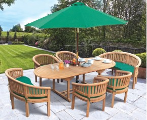 Wimbledon Teak Table, Chairs and Benches Set - Dining Sets with Benches