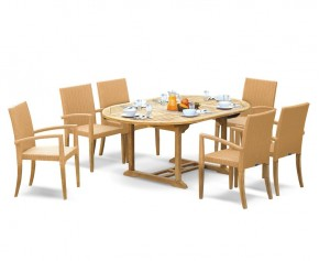 St Tropez Teak Garden Table and 6 Rattan Stackable Chairs Set - Oval Table