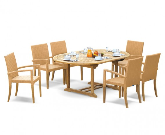 St Tropez Teak Garden Table and 6 Rattan Stackable Chairs Set