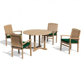Bali Patio Garden Table and Stackable Chairs Set - Outdoor Teak Dining Set - Canfield Dining Sets