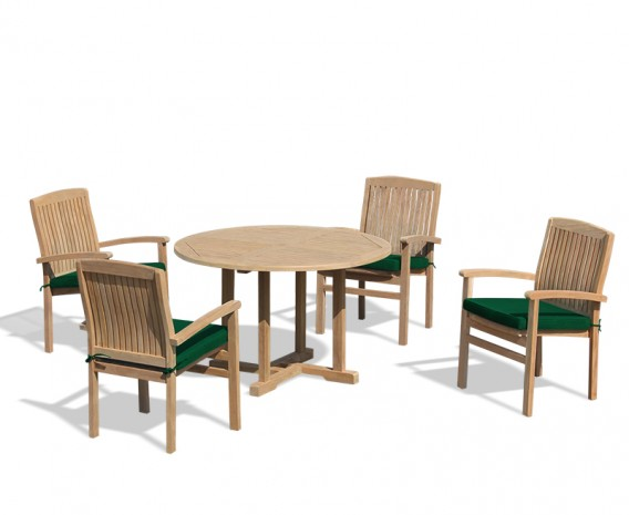 Bali Patio Garden Table and Stackable Chairs Set - Outdoor Teak Dining Set