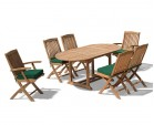 Bijou Outdoor Extending Garden Table and Folding Chairs - Patio Teak Extendable Dining Set
