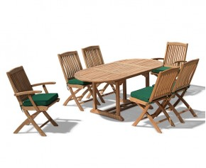 Bijou Outdoor Extending Garden Table and Folding Chairs - Patio Teak Extendable Dining Set - Oval Table