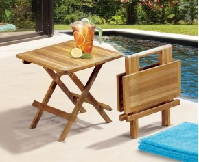Ashdown Teak Square Folding Picnic Table - Side Tables