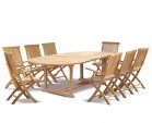 Brompton Outdoor 8 Seater Extending Dining Set with Folding Chairs