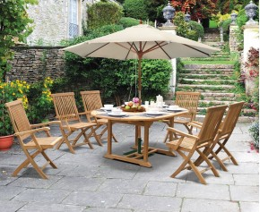 Brompton Deluxe Outdoor 6 Seater Extending Dining Set With Folding Chairs - Oval Table