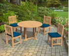 Canfield Fixed Garden Table and 4 Ascot Dining Chairs Set
