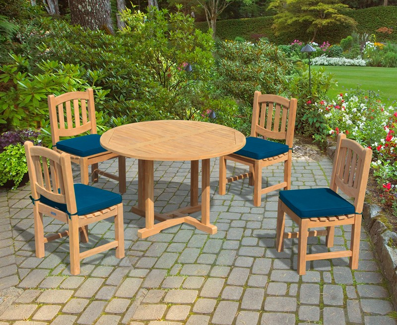 Canfield Fixed Garden Table And 4 Ascot Dining Chairs Set Corido