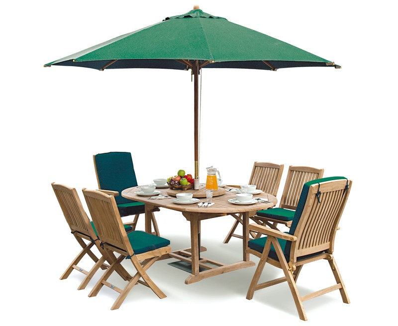 Extending Garden Table And Folding Chairs Set