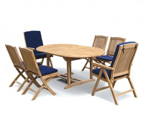 Deluxe Brompton Extending Garden Table and Folding Chairs Set - Oval Table