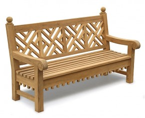 Chiswick Teak 6ft Chippendale Garden Bench - Large Garden Benches