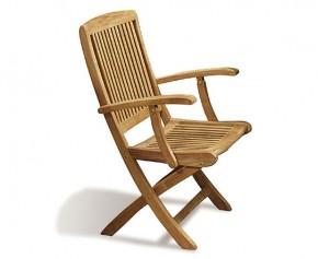 Rimini Teak Folding Garden Armchair - Garden Chairs