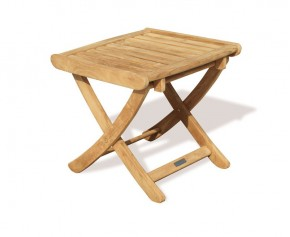 Cheltenham Teak Adjustable Footstool | Outdoor Side Table - Medium - Folding Garden Tables