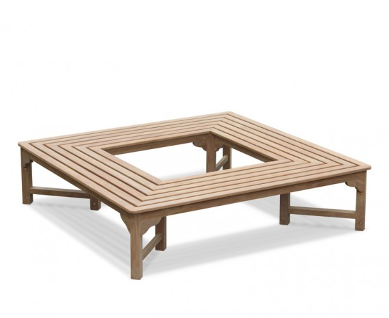 Teak Backless Square Tree Seat -1.8m