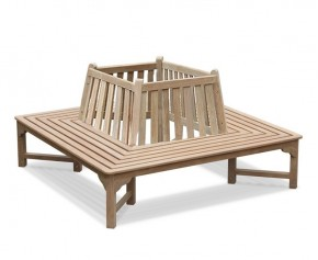 Teak Square Tree Seat with Back-1.8m