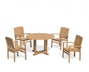 Bali Patio Garden Table and Stackable Chairs Set - Outdoor Teak Dining Set - Bali Dining Set
