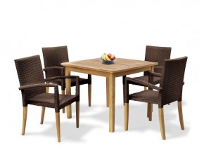 St Tropez Teak and Rattan Table and Chairs Set - Square Table
