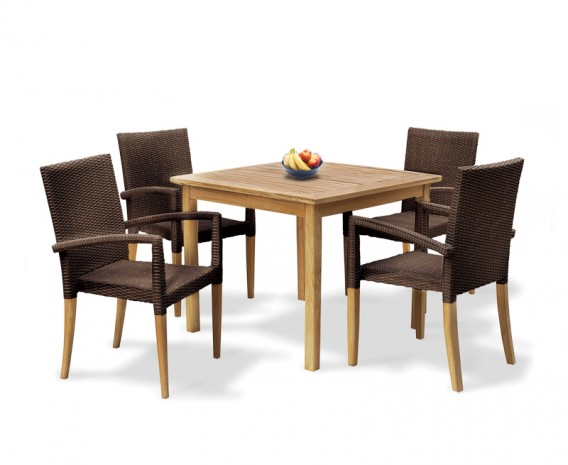 St Tropez Teak and Rattan Table and Chairs Set