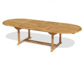 Brompton Double Leaf Teak Extending Garden Table 200cm - 300cm - Oval Garden Tables