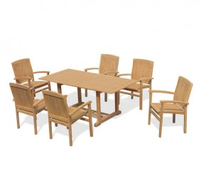 Hilgrove 6 Seater Garden Table and Bali Stacking Chairs Set - Medium Dining Sets