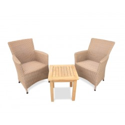 Riviera 2 Seater Side Table and Rattan Armchairs Set