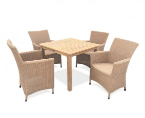 Riviera 4 Seater Teak and Rattan Garden Dining Set