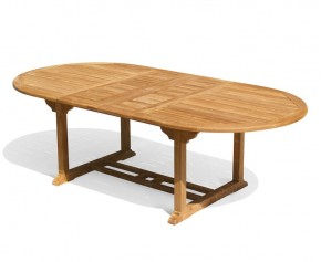 Brompton Teak Double Leaf Extending Outdoor Table - 180cm - 240cm - Oval Garden Tables