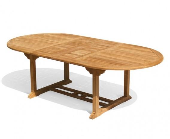 Brompton Teak Double-Leaf Extending Outdoor Table - 180-240cm